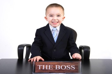 "Young Boss | Little boy with ""The Boss"" sign"